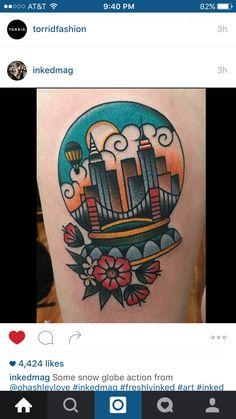 Such a neat idea! Cool Tattoos, Tatoos, Globe Tattoos, Neo Traditional Tattoo, Snow Globes, Tatting, Body Art, Piercings, Ink