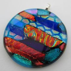 Big multi-coloured handmade fused glass pendant by BlueBoxStudio