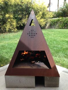 Custom Made Outdoor Steel Chiminea-Fireplace