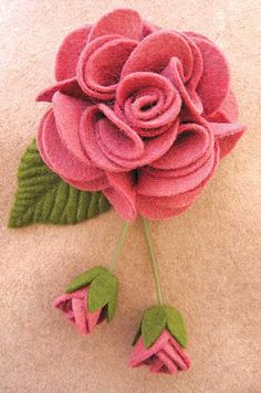 Lovely felted rose.  No instructions-was a class.  By The Warp and the Weft
