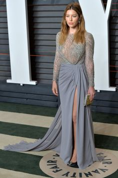 Jessica Biel Proves Sheer Can Still Be Classy Bridesmaid Dresses, Prom Dresses, Formal Dresses, Crepe Skirts, Mom Dress, Vanity Fair Oscar Party, Jessica Biel, Hollywood Fashion, Casual Winter Outfits