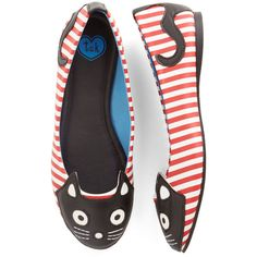 T.U.K. Kawaii Up Your Alley Cat Flat (4,045 INR) ❤ liked on Polyvore featuring shoes, flats, cats, shoes and socks, flat, ballet flat, red, scrunch ballet flats, flat pumps and red flats