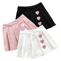This preppy, school girl inspired pleated skirt is very kawaii and sexy! Available in basic colors and pastels! S: Waist: 64 length: 38 M: Waist: 66 length: Harajuku Fairy Kei Pleated Skirt With Hearts by Kawaii BabeColor: Black White Pink Ma Baby Dress Design, Baby Girl Dress Patterns, Little Girl Dresses, Girl Outfits, Cute Outfits, Toddler Outfits, Baby Skirt, Baby Frocks Designs, Skirts For Kids
