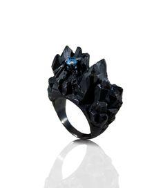 Mordor Ring  Material: sterling silver, natural blue topaz.  Hand made by Karolina Bik #black #ring #stone #topaz