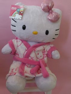 BUILD A BEAR HELLO KITTY + PINK HELLO KITTY ROBE NEW