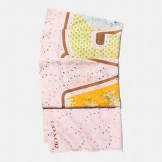 Coach Space Patchwork Oblong Scarf ($195) ❤ liked on Polyvore featuring accessories, scarves, light pink, floral scarves, long scarves, floral shawl, coach scarves and floral print scarves