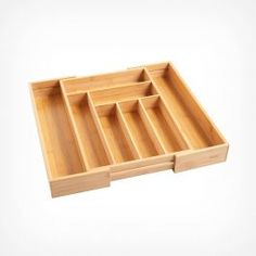 Bring order to your chaotic cutlery drawer with the VonShef Extendable Bamboo Cutlery Tray. Universal style fully extends up to and fits most standard kitchen drawers. The versatile way to unclutter your cutlery drawer! Pull Out Kitchen Cabinet, Kitchen Cabinet Organization, Kitchen Storage, Kitchen Shelves, Silverware Drawer Organizer, Cutlery Storage, Drawer Storage, Food Prep Storage, Cake Storage