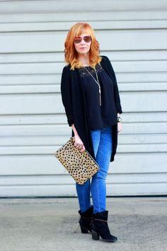 Fashion Fairy Dust style blog: boho top, leopard clutch, skinny jeans, third piece rule