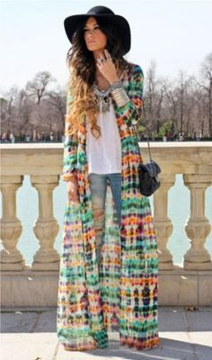 Design And Colour Cardign Dress -awesome maxi dress to wear open like a jacket or closed like a dress