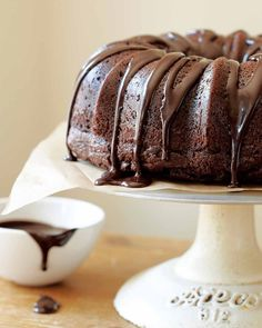 Chocolate Sour Cream Bundt Cake  | This chocolate sour cream Bundt cake has a chocolatey intensity that's old-fashioned in the best possible way,, thanks to the intensity of cocoa powder. (Can sub sour cream with yogurt and decreasing water).