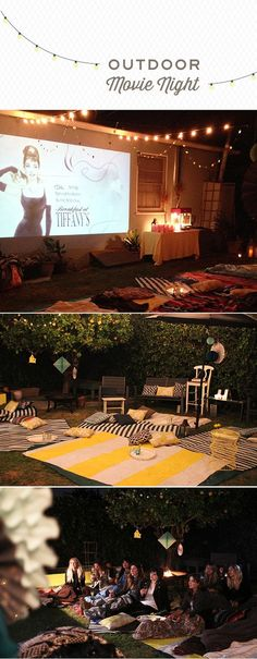 New Backyard Movie Night Party Diy 70 Ideas Backyard Movie Nights, Outdoor Movie Nights, Outdoor Movie Party, Outdoor Parties, Outdoor Games, Outdoor Ideas, Outdoor Cinema, Outdoor Theater, Party Fiesta
