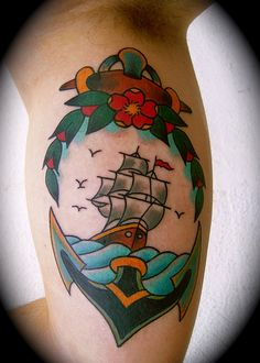 tattoo old school / traditional nautic ink - ship and anchor