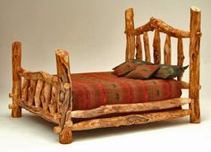 Burl Aspen 4 Post Bed with Elk Markings - Item # BR04000 - Available with Attached Bench - Available in Queen & King - Customizable