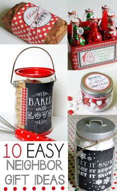 10 Easy and Quick Neighbor Gift Ideas on { gifts decorating ideas it yourself Homemade Christmas, Diy Christmas Gifts, Simple Christmas, Holiday Crafts, Holiday Fun, Christmas Holidays, Christmas Neighbor, Christmas Ideas, Jar Gifts