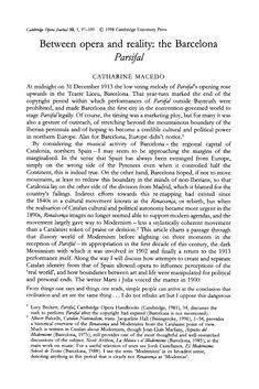 "Catharine Macedo, Between Opera and Reality: The Barcelona ""Parsifal"", Cambridge Opera Journal, Vol."
