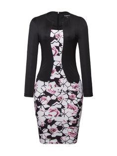 Asymmetric Neck Fake Two-piece Floral Printed Bodycon Dress