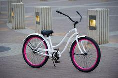 OLD SKOOL Women\s Beach Cruiser Bike - Gloss White / Pink