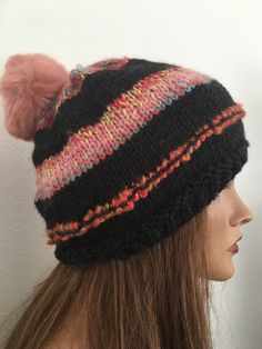 Hand Knits 2 Love Beanie Slouch Hat Faux Fur Pom Pom Multicolor Designer Fashion #HandKnits2Love #BeanieSlouchHat