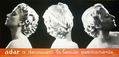 Oozing glamour and style, this dramatically lit photogarphic freize shows us the perfect permed coiffure from every which way. A classic advertisement for the Adar hair product company. 1930s Fashion, Vintage Hairstyles, Vintage Posters, Glamour, 1930s Style, Classic, Melbourne, Beauty, Collection