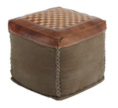 Patchwork Vintage Casual Brown Pouf