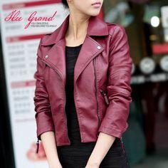 burgundy leather jacket fashion short coat autumn marsala