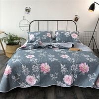 Korean Summer Cool Handmade Cotton Quilted Quilts Handmade Print Floral Coverlet Bedcover Pillowcase 3pcs Set King Size Bedsrea Cotton Quilts Coverlets Quilted
