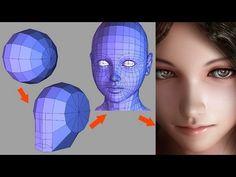 人間の頭部のモデリングです。 作り方には個性があり、これが良いというものはないと思います。 こんな作り方をする人もいると思ってください。 先ずエッジの収束点が横向きの球を出して顔の側面にあたる部分を平らにし、あごになる部分を下へ引き延ばします。 眼球は目を作る前にはじめから入れた方がモデリングの目安になります。 ...