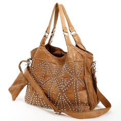 AmeriLeather handbags at Kohl's - Shop the full line of handbags, including this AmeriLeather Spirit Leather Studded Tote, at Kohl's. Studded Bag, Cowgirl Style, Cowgirl Fashion, Brown Leather Totes, Vintage Purses, Cute Bags, Leather Fashion, Tote Handbags, Purses And Bags