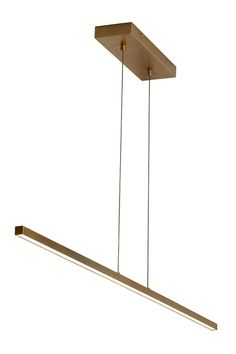 Essence 1- Light Linear Suspension by LBL: The ultimate in modern minimalism, the clean horizontal line will make a dramatic statement while not detracting from beautiful room surroundings. The Aged Brass lighting fixture emits a warm light glow downward with its high performance, energy efficient, integrated LED light source at 3000K and 90 CRI. Ideal for a dining room, kitchen island, and living room light.