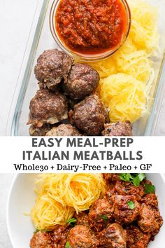Baked Italian Meatballs - a simple and delicious way to make amazing meatballs! Perfect for spaghetti squash, zoodles or meal prep for the week! #bakeditalianmeatballs #italianmeatballs #bakedmeatballs #mealprepmeatballs #glutenfreerecipes #whole30recipes #paleorecipes Easy Healthy Meal Prep, Paleo Meal Prep, Easy Weeknight Meals, Easy Healthy Recipes, Easy Meals, Simple Meal Prep, Healthy Eating, Paleo Meals, Food Prep