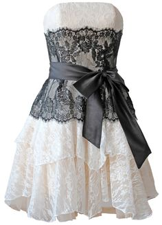 FairOnly Ivory\Black Lace Bowknot Hot Formal Cocktail Mini Homecoming Dress