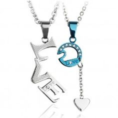 True Love With Heart Pendant Titanium Steel Lovers Necklaces (Price For a Pair)  - USD $39.95