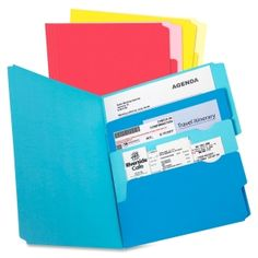Keep your file folders organized with sectioned off areas inside! cute colors! Cute office supplies