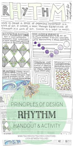 Rhythm, Principles of Design Mini Art Lesson, Visual Art Worksheet I love having easy and educational worksheets on hand to pass out when needed in my art class. You never know when you will need an activity for a sub, speedy artist, or to fill the end of Elements And Principles, Elements Of Art, Middle School Art, Art School, High School, Rhythm Art, Perspective Drawing Lessons, 7 Arts, Art Worksheets