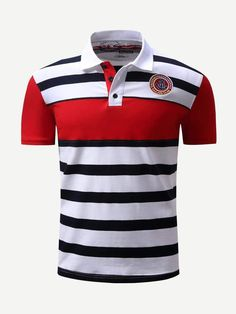 3d5501e78 Men Embroidery Striped Polo Shirt. MasculinoPolo ListradoCamisetas De GolfeCamisetas  PoloCalções EsportivasEstilo Casual ...