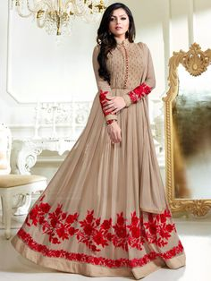 Buy Drashti Dhami light brown color georgette party wear anarkali kameez in UK, USA and CanadaSemi-stitched beige faux georgette abaya style anarkali suit with stone works enhancing the embroidered floral patterns on the lower part of the kameez. Eid Dresses, Indian Gowns Dresses, Indian Fashion Dresses, Party Wear Dresses, Abaya Fashion, Pakistani Dresses, Indian Outfits, Mode Abaya, Kurti Designs Party Wear
