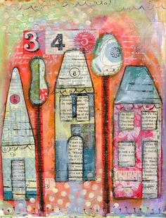 houses.  Lynda M Richard --like the book clippings, color, doodles