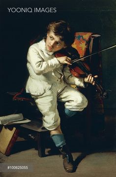 Manifestation of genius, Niccolo' Paganini as a child playing the violin, 1881, by Giovanni Pezzotta (1838-1911), oil on canvas, 70x105 cm. Italy, 19th century.