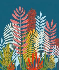 Ferns by Lisa Congdon Mural Wall Art, Mural Painting, Paintings, Art And Illustration, Garden Mural, Ferns, Art Drawings, Street Art, Wallpaper