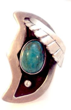 Sterling Silver Man in the Moon Turquoise Ring by bitzofglitz4u on Etsy