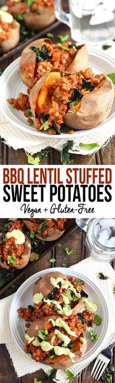 These Barbecue Lentil Stuffed Sweet Potatoes are the perfect plant-based entree to serve on game day or at a party. Hearty and satisfying with a BBQ kick!