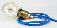 Textilkabel Leuchtenpendel Lampenpendel Zug-Pendelleitung blau mit E27 Metall Messing Lampenfassung und E27 Deko Globe de Luxe Glühlampe mit Kohlefaden