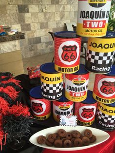 disney cars table ideas,recycle milk cans cover with decals - cars party
