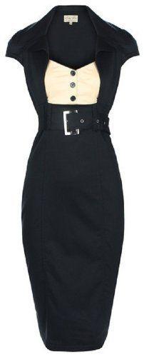 $46 Lindy Bop 'Wynona' Chic Vintage 1950's Secretary Style Black Pencil Wiggle Dress (M)From Lindy Bop $46