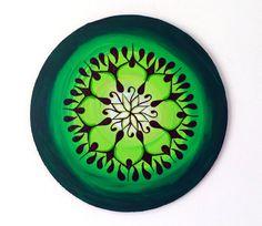 Verde Mandala Mandala colgante de pared acrílico por Mandalacor