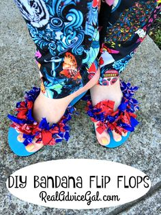 Have fun this summer by getting crafty and adding some fun style to your boring plain flip flops. Check out this DIY Bandana Flip Flops