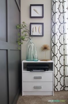 Remove top drawer and put a platform for printer. Push to the back of the dresser so that paper can be inserted.