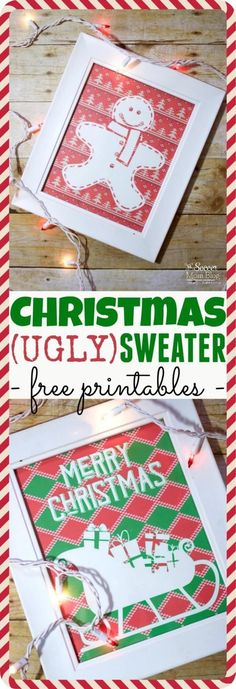 Add a fun & funky touch to your holiday party decor with FREE Printable Ugly Christmas Sweater Wall Art! Simply print and frame for quick, easy decorations. Diy Christmas Decorations For Home, Christmas Activities For Kids, Christmas Printables, Holiday Decorating, Brunch Party Decorations, Easy Decorations, Decor Ideas, Christmas Brunch, Christmas Crafts