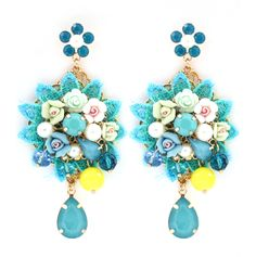 Crochet Chandelier Earrings in Graceful Blue