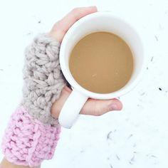 Fingerless gloves! #crochet #coffee #winter
